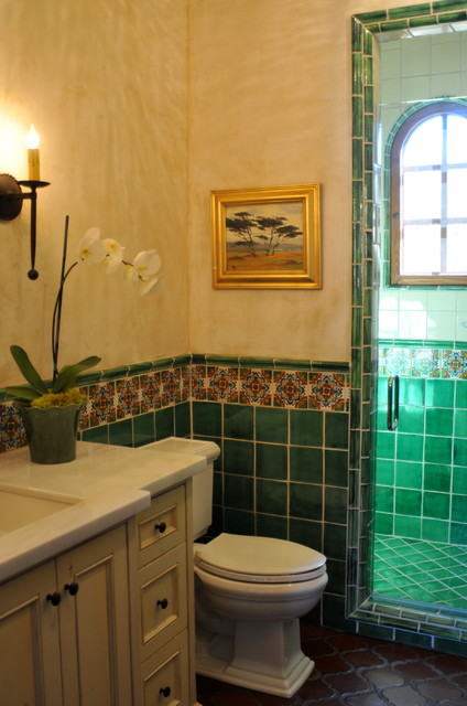 Spanish style home traditional bathroom san for Spanish style bathroom