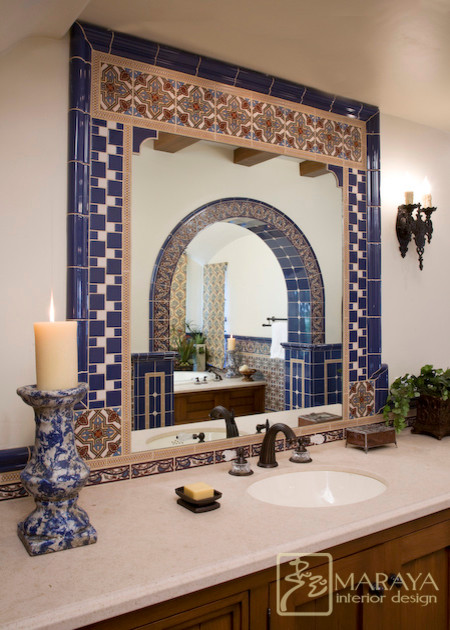 Spanish tiled bath mediterranean bathroom santa for Bathroom tiles spain