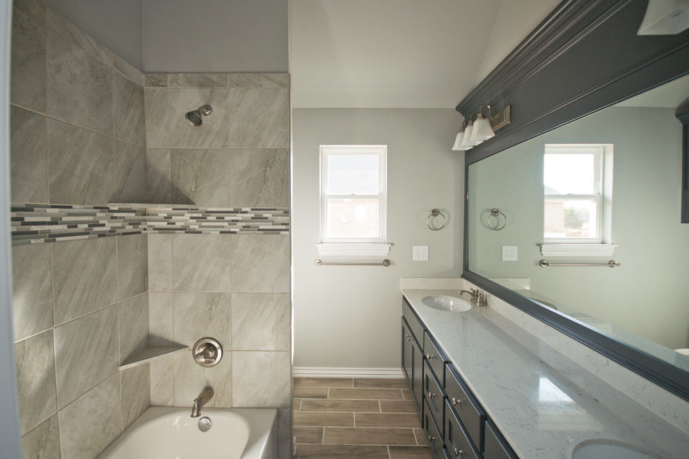 Spare Bathroom with Large Counter and Navy Cabinets ...