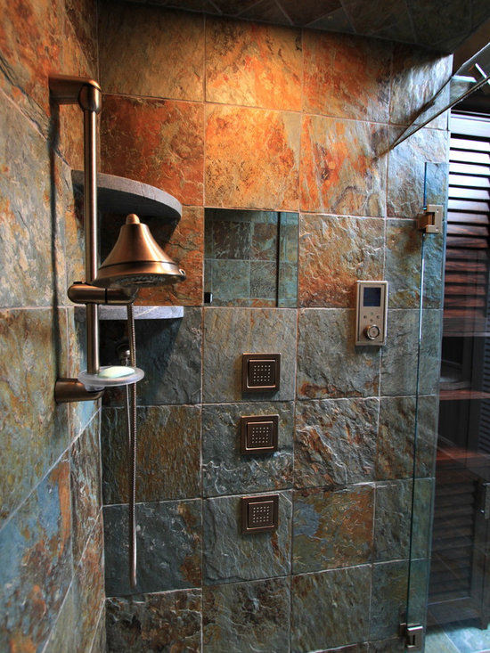 rustic bath tile bathroom design ideas pictures remodel ForCabin Shower Tile Ideas