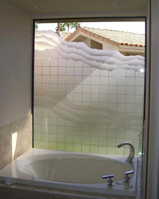 Squares waves bathroom windows frosted glass designs privacy glass bathroom other Glass bathroom design ideas