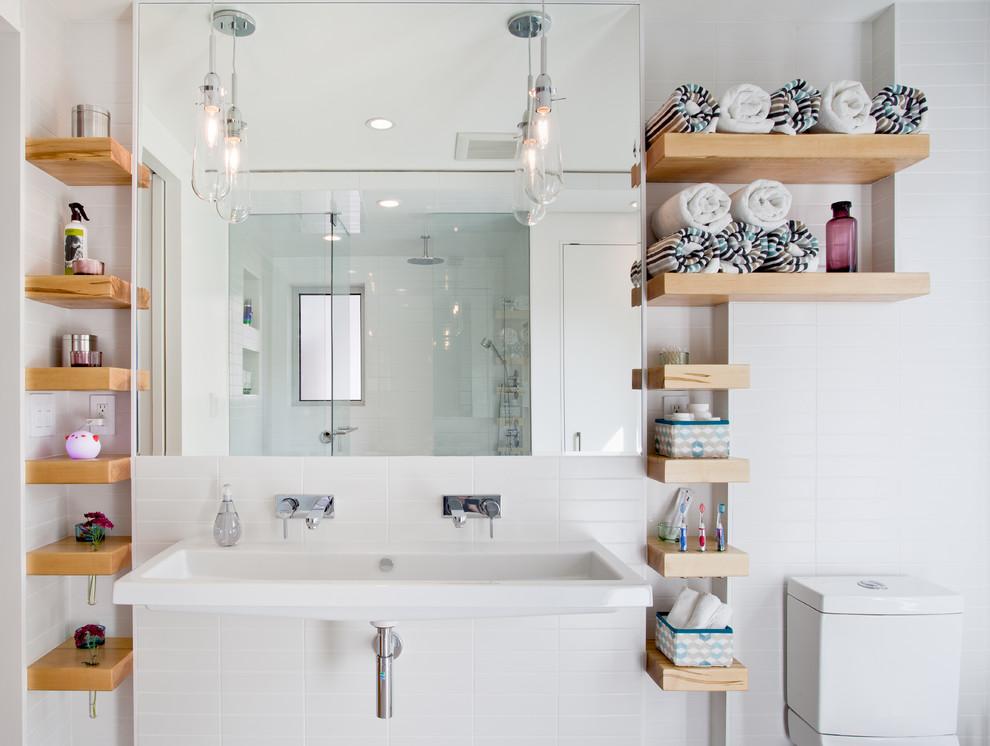 Bathroom - contemporary kids' bathroom idea in Toronto with a trough sink