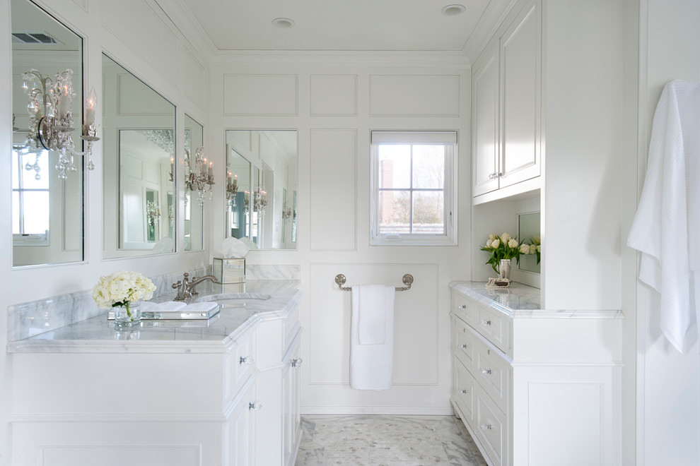 Bathroom - traditional master bathroom idea in Philadelphia with beaded inset cabinets, white cabinets, white walls and an undermount sink