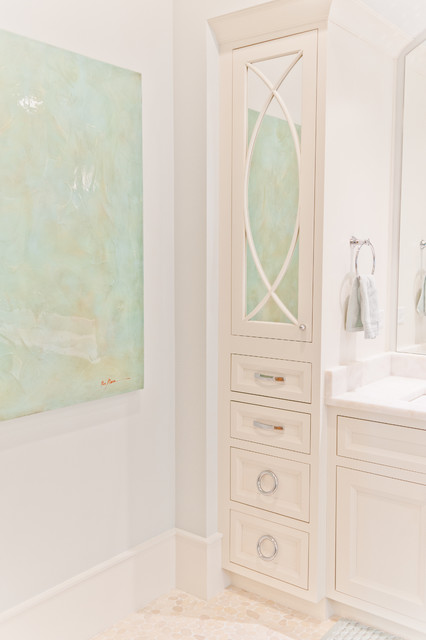 Example of a mid-sized coastal master white tile bathroom design in Jacksonville with beaded inset cabinets, white cabinets and marble countertops