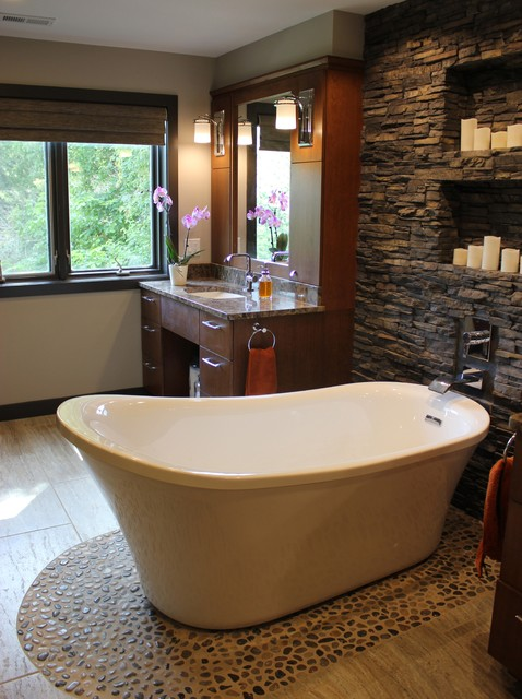 Stacked Stone Candle Wall Contemporary Bathroom