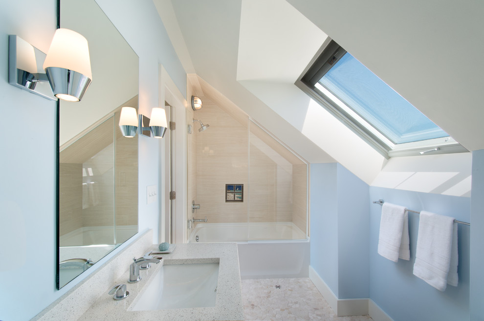 Example of a beach style kids' beige tile pebble tile floor bathroom design in Portland Maine with blue walls