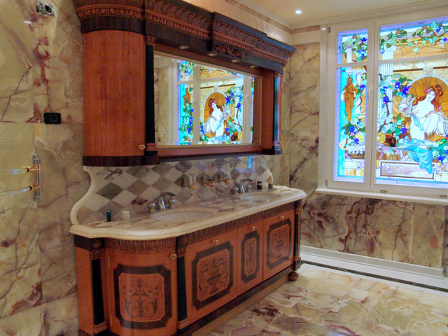 Stained Glass Bathroom Windows Traditional Bathroom