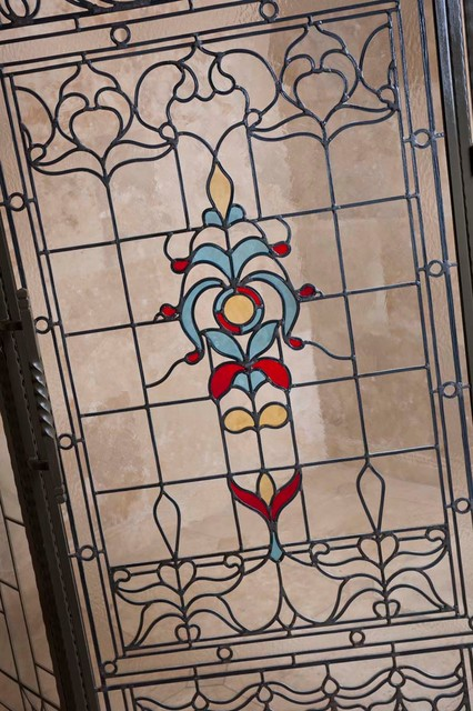 Nature bathroom design - Stained Glass Shower Door Traditional Bathroom