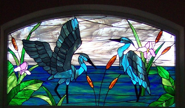 Stained Glass Window Depicting Herons Beach Style