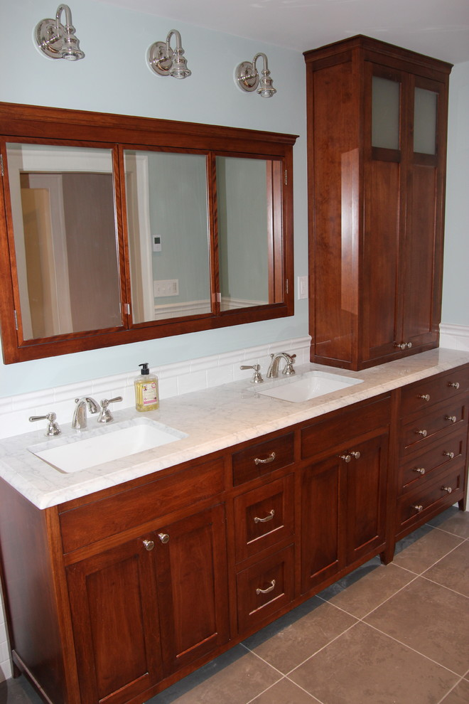 Stained Red Birch Double Vanity Hutch