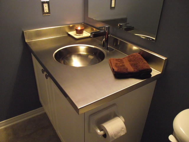Stainless steel vanity countertop by ridalco for Stainless steel bathroom countertops