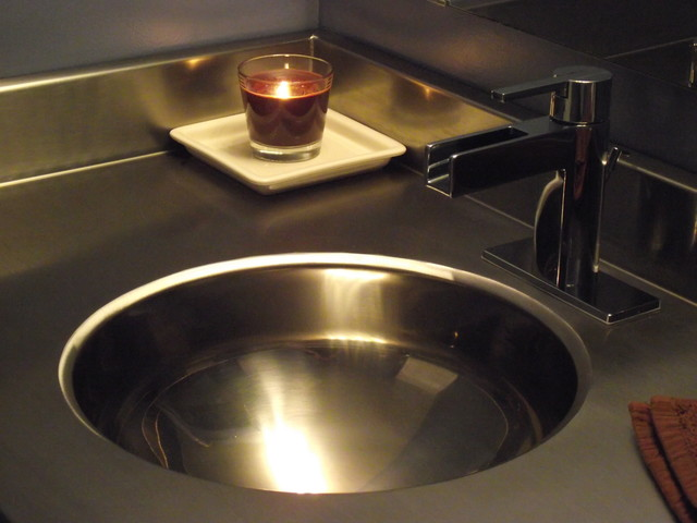 Stainless steel vanity countertop by ridalco for Stainless steel countertop with integral sink