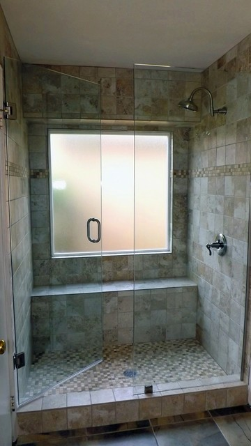 Standard Bathroom Conversion To Full Shower Modern