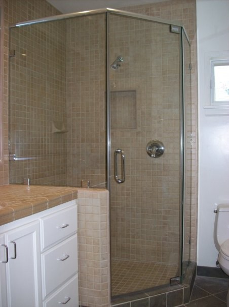 Standing neo angle shower door traditional bathroom for Standing shower bathroom ideas