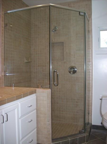 Standing Neo Angle Shower Door Traditional Bathroom