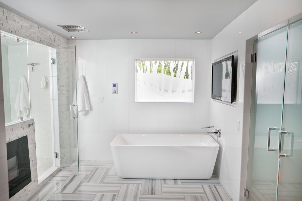 Inspiration for a modern freestanding bathtub remodel in Louisville