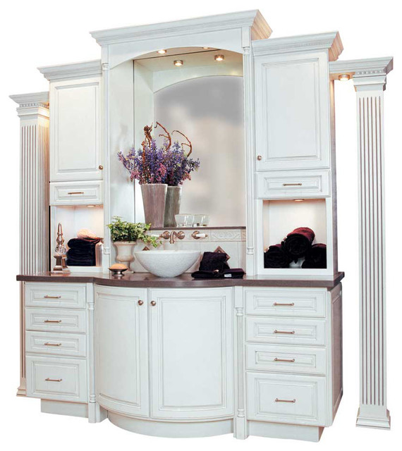 StarMark Cabinetry Curved Vanity with Fluted Columns - Traditional - Bathroom - other metro - by ...