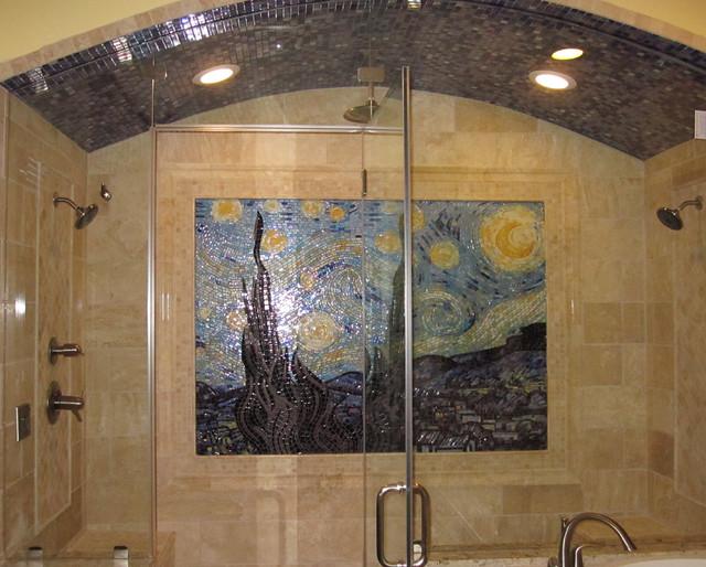 Starry Night Glass Mosaic Shower Traditional Bathroom