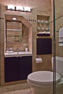 Staten Island House After Sandy New Bathroom Recessed Vanity Contemporary Bathroom New York By Clever Home Design Llc Houzz