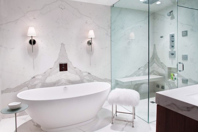 Statuario white bathroom using porcelain slabs for White bathrooms 2016