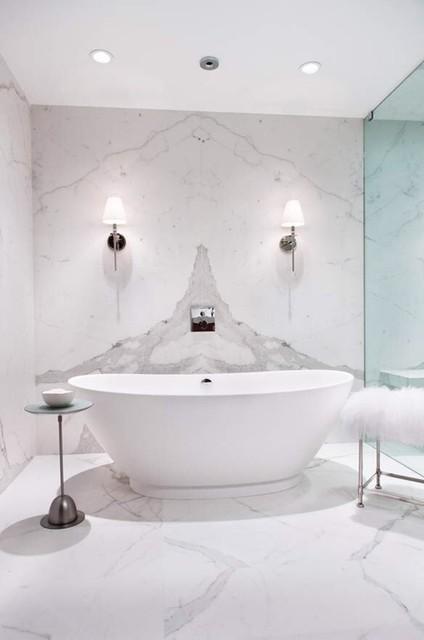 Statuario White Bathroom Using Porcelain Slabs Transitional