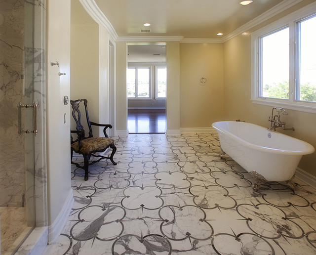 Statuary Vein custom water jet floor pattern from Royal Stone & Tile traditional-bathroom