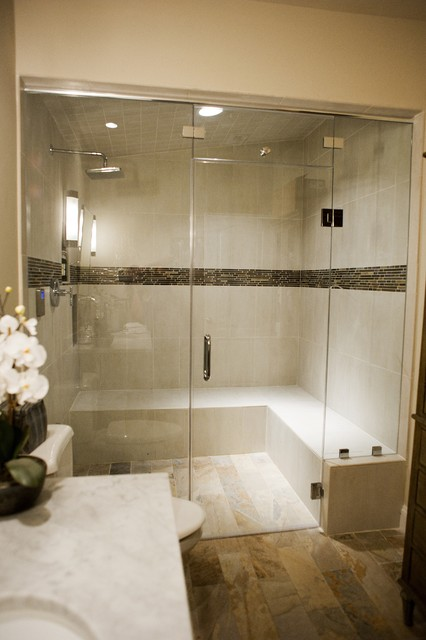 Steam shower contemporary bathroom dc metro by for Master bathroom with sauna