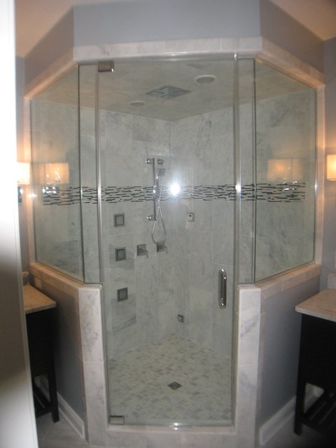 Steam Shower with 4 panel shower rainhead and body jets, carrera ...