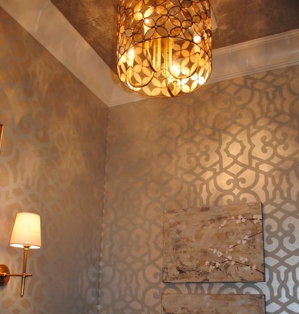 Stenciled Powder Bathroom contemporary-bathroom
