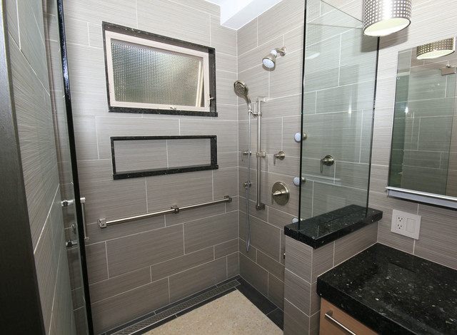 Step In Shower With Full Size Shampoo Niche Contemporary