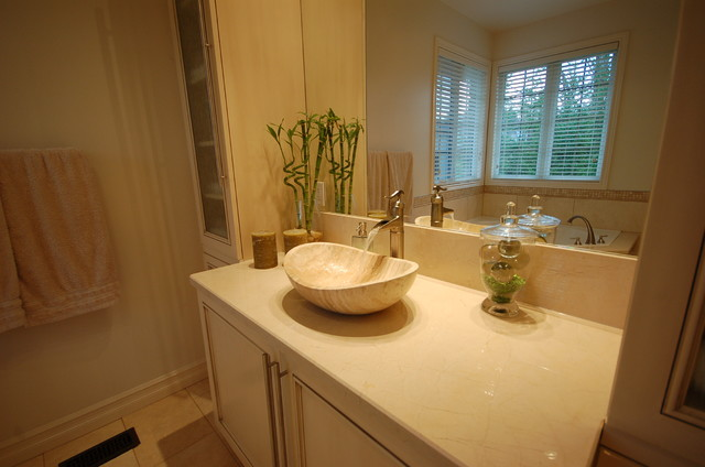 Stone Canoe Sink - Honed Beige Travertine contemporary-bathroom