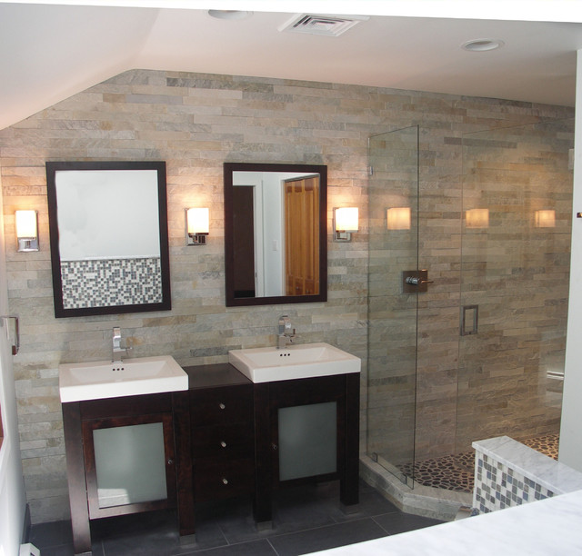 Stone Cladding in Bath Contemporary Bathroom Philadelphia