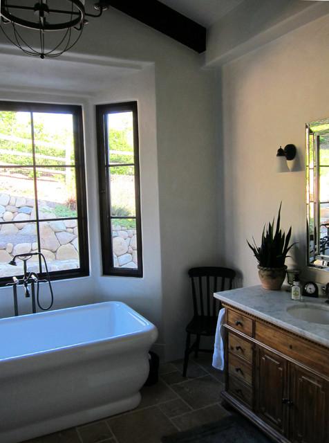 Stone farmhouse master bathroom in montecito ca for Home designs and granite santa barbara