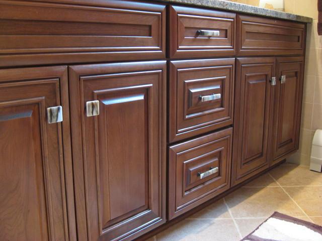 Stone Glass Cabinet Hardware Bathroom Design - Traditional ...