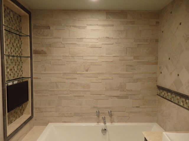 stone look master bathroom design by katelyn dessner