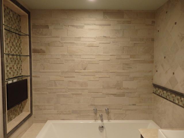 "Modern Master Bathroom Tile Ideas: ""Stone Look"" Master Bathroom Design By Katelyn Dessner"