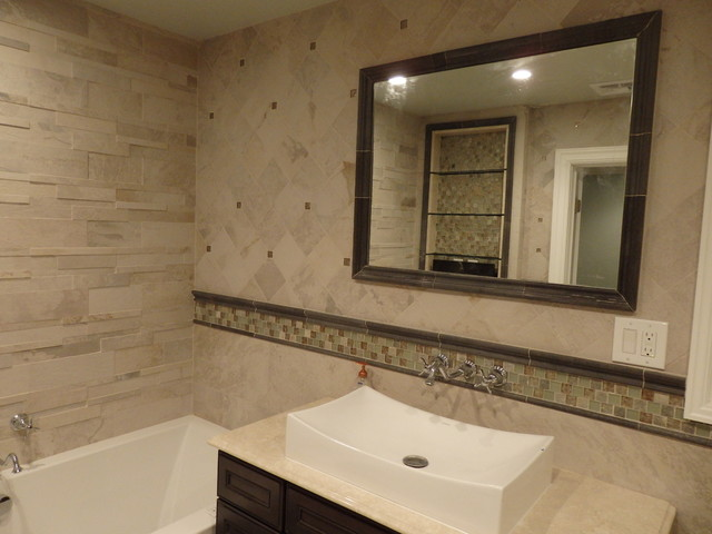 "Bathroom Design New York stone look"" master bathroom designkatelyn dessner"
