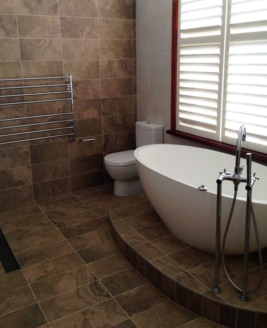 Stone Look Porcelain Tiles Contemporary Bathroom Sydney By Kalafrana Ceramics