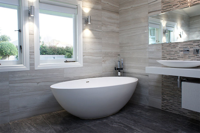 Stone Look Tile Bathroom Traditional Bathroom Auckland by
