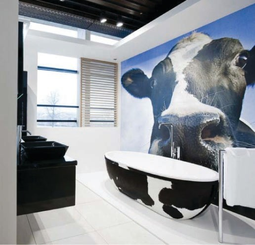 Stone One Cow eclectic bathroom