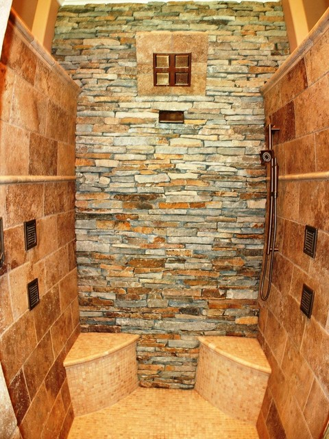 Rustic stone showers bing images for Rustic stone bathroom designs