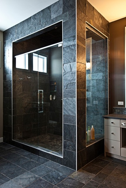 Stone tile shower - Modern - Bathroom - Calgary