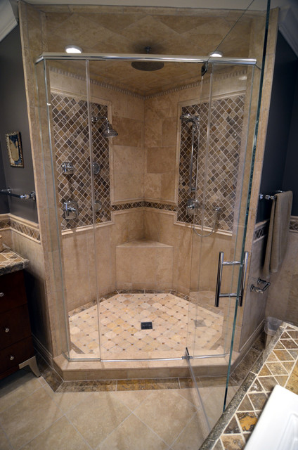 stone walk in shower mediterranean bathroom
