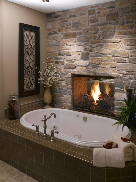 Stone Wall Bathroom Fireplace Rustic