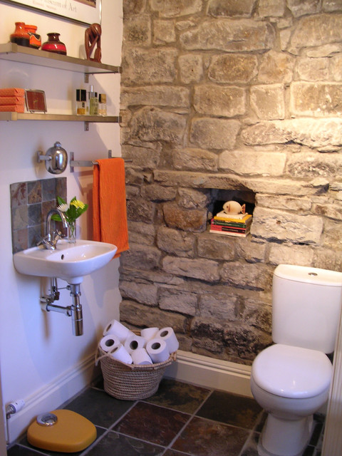 Stone Wall Cloakroom Eclectic Bathroom Other Metro