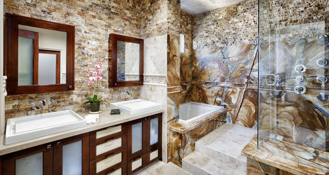 Stone wood granite shower traditional bathroom other