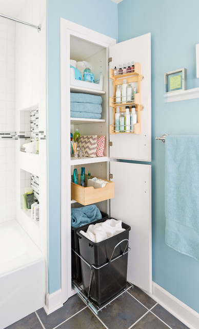 Storage packed small bathroom makeover traditional for Bathroom closet remodel