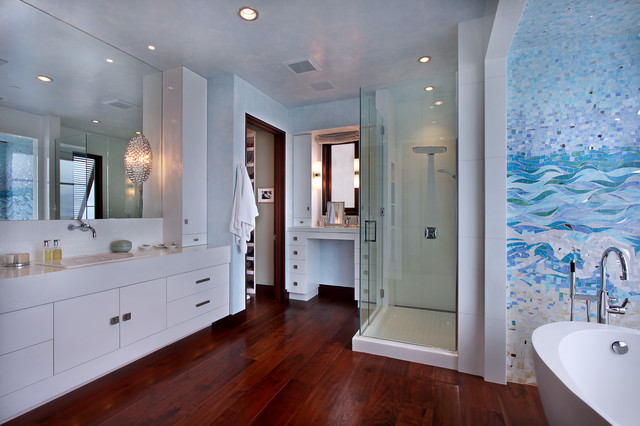 Strand beach contemporary bathroom orange county by jeri koegel photography for Bathroom mirrors orange county