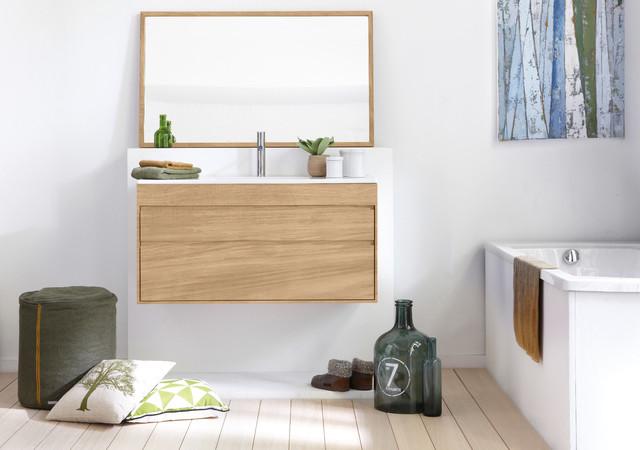 Line Art Vanity : Streamline teak floating vanity by line art contemporary