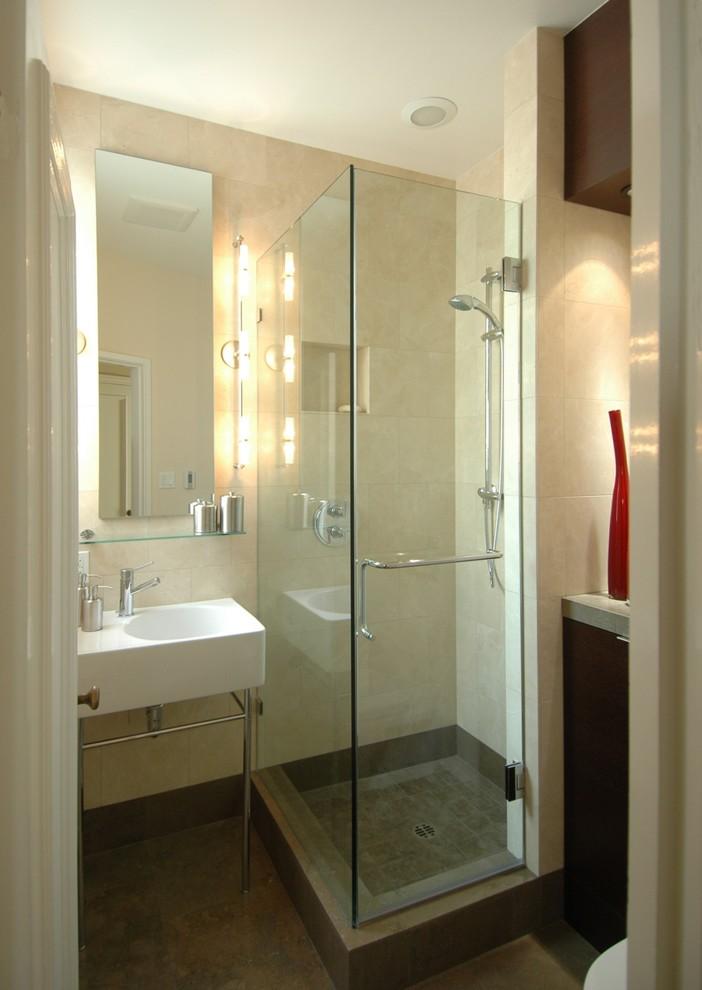 Bathroom - contemporary stone tile bathroom idea in San Francisco